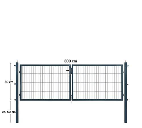Doppelflügeltore für Stabmattenzaun, grün oder anthrazit, verschiedene Höhen wählbar - inklusive Pfosten und passenden Anschlussstücken (Doppeltor H 80 x B 300 cm, anthrazit)