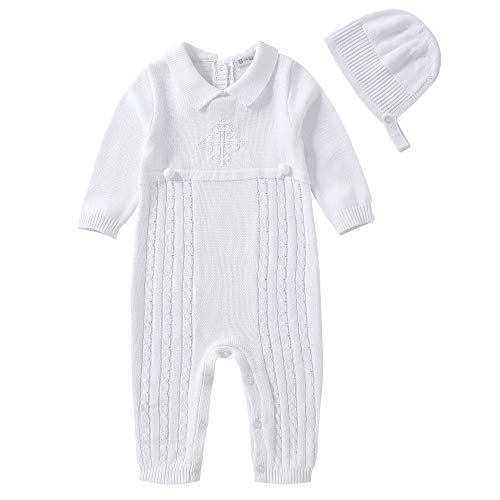 Booulfi Baby Boy's Baptism Outfits Long Sleeve Suit with Hat,Cross Detail White
