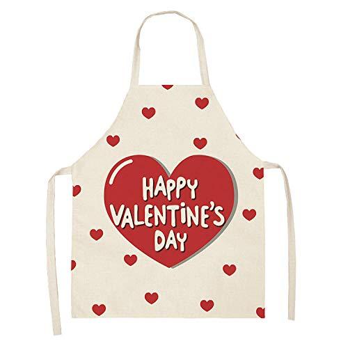 HNLHLY Delantales De Barbacoa Amor Corazón Día De San Valentín Patrón Limpieza Cocina Casera Delantales De Cocina Ropa De Cocinero Algodón Lino Baberos Para Adultos 53 * 65 Cm-2Wq ‑ Wql0207-7