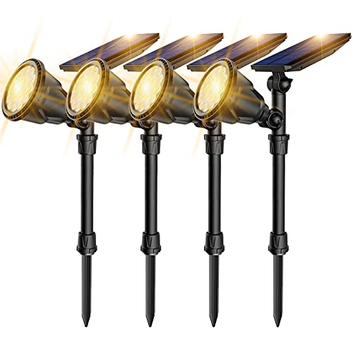Outdoor Solar Landscape Spot Lights,Waterproof Solar Powered Spotlights with Ground Spike 2-in-1 Adjustable Landscaping Light for Path Driveway Pool Patio Wall Porch Trees Flags Warm White,4 Pack