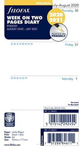 Filofax 21–68452 Terminplaner, Wochenansicht auf 2 Seiten, englisch, August 20 – Juli 21