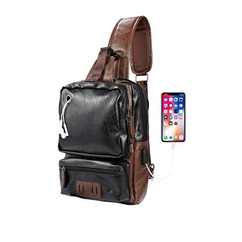 Men's Sling Bag, Crossbody PU Leather Shoulder Backpack with USB Charging Port, Vintage Chest Bag Gift for Men (Black)
