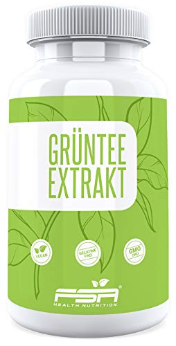 Grüner Tee Extrakt 90 Kapseln, 500 mg pro Kapsel, 50% EGCG, Vegan - Made in Germany - FSA Nutrition