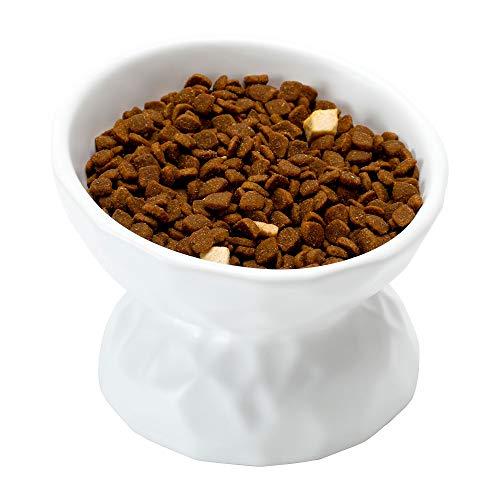 PETTOM Katzennapf, Futternapf Katze Keramik, Fressnapf Katze Erhöht, Katzenfressnapf Nackenschutz (Weiß)