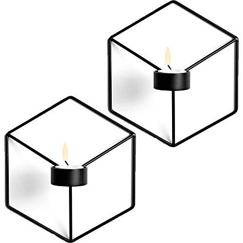 Wandkerzenhalter Wandleuchter Kerzenständer Kerzenhalter 2er Set,Schmiedeeiserne Wanddekoration, Stereometrischer Kerzenleuchter, Beleuchtung Dekoration für Wohnzimmer/Esszimmer/Bar (Schwarz)