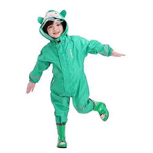 Guyuan Imperméable Siamois pour Enfants Printemps et été Bande dessinée Stéréo Garçons Bébé Enfants Poncho Respirant (Color : Green, Size : S)