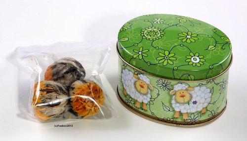 Feelino edle Box mit Schäfchenmotiv inkl. 3 Teeblumen / Teerosen in sehr edler Probier- und Geschenkdose, inkl. Bedienungsanleitung, hochwertigster Tee mit echten Calendula- und Jasminblüten