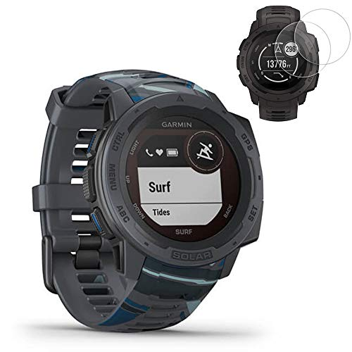 Garmin Instinct Solar GPS Smartwatch Surf Edition (010-02293-17) w/ 2X Screen Protector