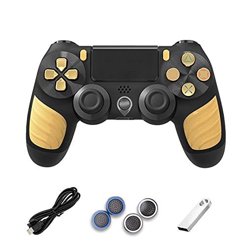 Mnwan Gamepad-Controller für PS4, drahtloser Bluetooth-Steuerung mit doppeltem Vibration, induktivem Touchpad, Anti-Rutschfunktion, mit USB-Kabel, Wippkappe, U-Diskette (Color : Yellow3)
