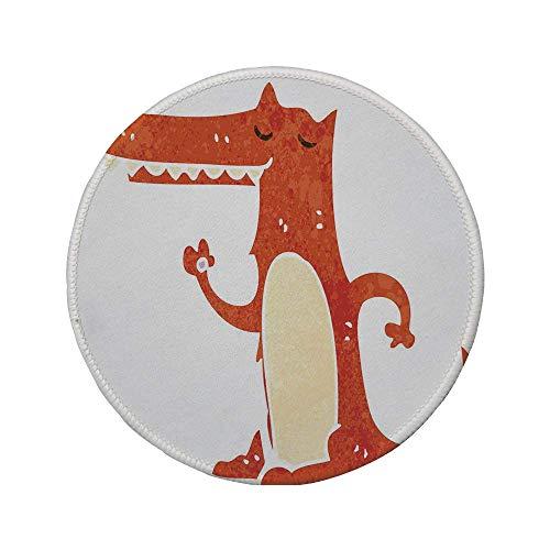 Rutschfreies Gummi-rundes Mauspad Fox handgezeichnetes lustiges Maskottchen-Aquarell-Grunge-Kunstwerk im Retro-Stil dekorativ gebrannte weiße Sienna-Creme 7,87 'x 7,87' x 3 mm