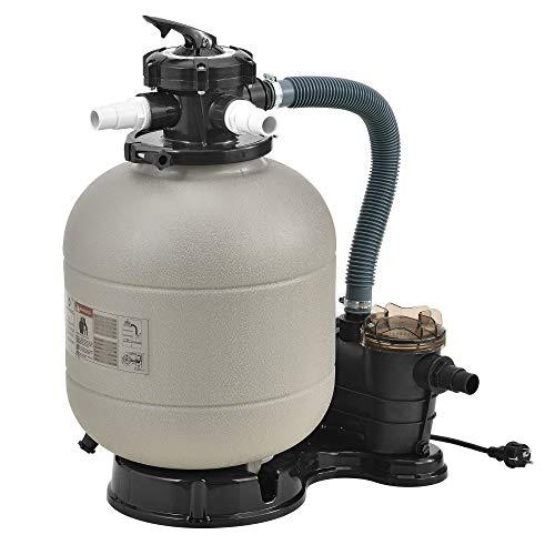 pro.tec Sandfilteranlage Beige - 400mm 12 m³/h 5-Wege Ventil 400 W Poolfilter mit Pumpe Poolfilteranlage mit Druckanzeige
