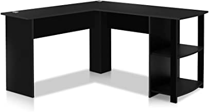 Artiss Computer Desk Wooden Corner Home Office Workstation, Black