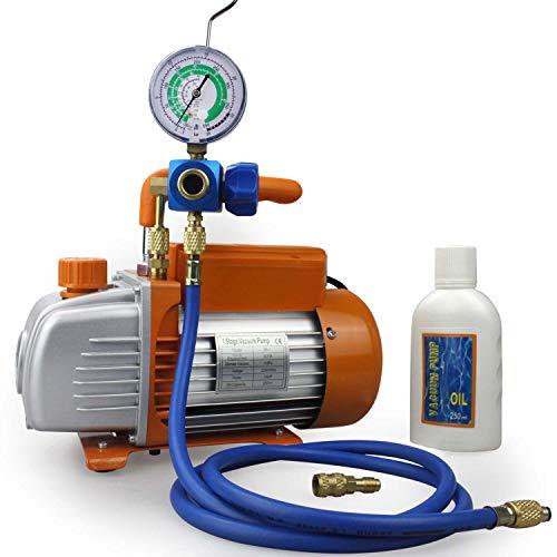 BACOENG Pompa Vuoto 85 Lt/min con Manometro Collettore, Set di Strumenti per Il Condizionamento del Refrigerante, per HVAC/Ricarica Automatica del Refrigerante CA, R410A R134a R407C R22