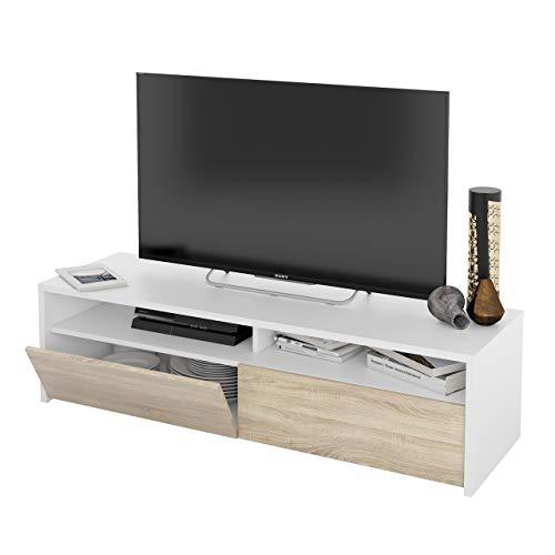 Mueble de Salon, modulo de Comedor Kioto, Acabado Color Blanco Artik y Roble Canadian, Medidas: 130 cm (Ancho) x 35,5 cm (Alto) x 40,2 cm (Fondo)