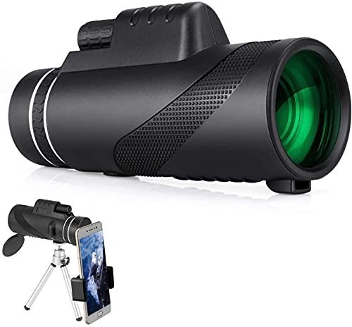MWKL Telescopio monocular Telescopio HD 12x50 para Adultos Monocular Impermeable de Alta Potencia con Soporte para teléfono Inteligente y trípode, Prisma BAK4 para observación de Aves