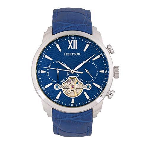 Heritor Arthur Herren-Armbanduhr, automatisch, blau, echtes Leder, silberfarben, mit Datum, HERHR7903