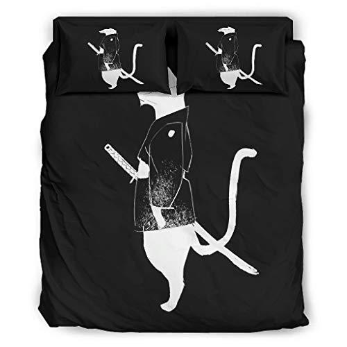Wandlovers Juego de cama de 4 piezas, diseño de gato blanco y negro, impresión japonesa, muy suave, funda nórdica y funda de almohada, 240 x 264 cm