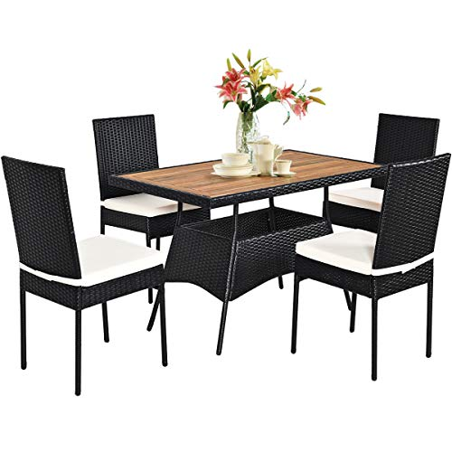 Tangkula 5 PCS Wicker Patio Dining Set, Outdoor Rattan Table & Chairs Set with Padded Cushions, Patio Furniture Dining Acacia Wood Table Set for Balcony Patio Garden Poolside (Wood, Natural)