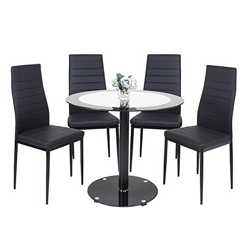 Beliwin Dining Table and 4 Chairs Black,Glass Round Dining Table and High Back Chairs With Soft Padded Seat,Dining Set for Kitchen and Living Room