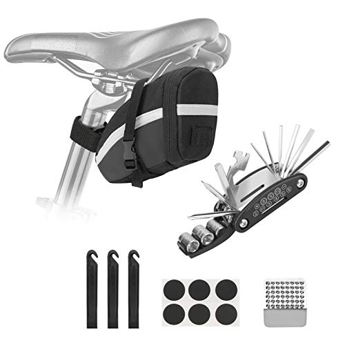 Brynnl Juego de herramientas 16 en 1 para reparación de bicicletas de montaña multifunción, juego de herramientas de palanca, bolsa de almacenamiento para bicicleta