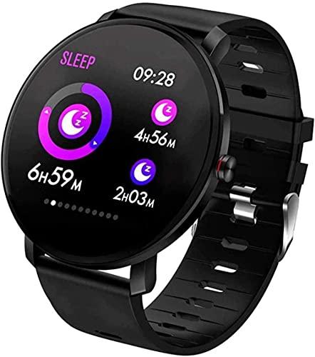 XYJ Männer S und Damen Smart Uhren 1 3 Zoll Farbbildschirm Sport Fitness Schrittzähler Armband IP68 wasserdichte Schlafüberwachung Tracker (Color : Black)