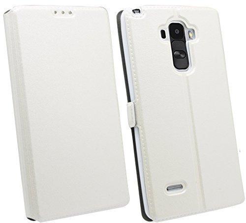 ENERGMiX Buchtasche kompatibel mit LG G4 Stylus (H635) Hülle Hülle Tasche Wallet BookStyle mit Standfunktion in Weiß