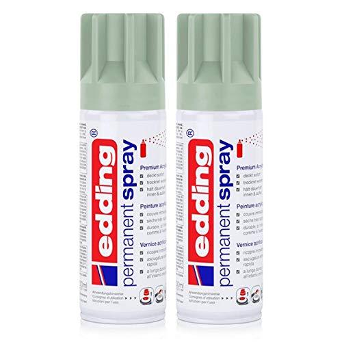 edding Permanent Spray Premium-Acryllack mellow mint 200ml – seidenmatt – Sprühlack deckt sofort, trocknet extrem schnell und hält dauerhaft innen & außen, für Glas, Metall, Holz uvm. (2er Pack)