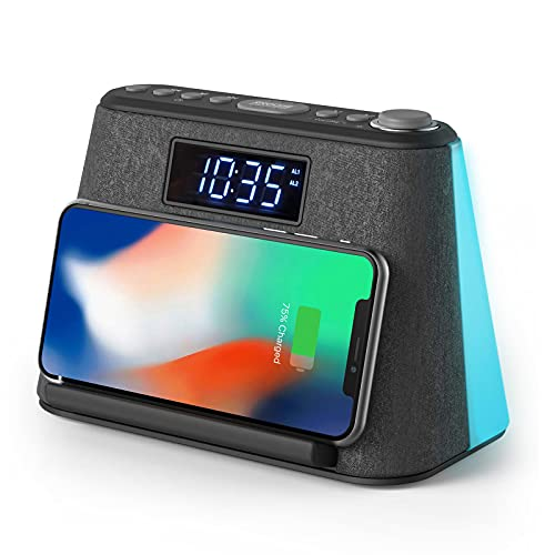 Digital Alarm Clock Radio, Bedside LCD Alarm Clock with USB Charger & Wireless QI Charging, Bluetooth Speaker, FM Radio, RGB Mood LED Night Light Lamp, Dimmable Display and White Noise Machine