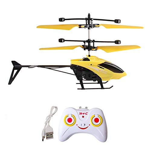 Toimothcn RC Helicopters Mini RC Infrared Induction Remote Control 2CH Gyro Helicopter RC Drone for Kid Beginner (Yellow)