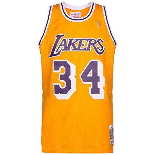 Mitchell & Ness NBA LA Lakers 2.0 Shaquille O'Neal - Maglia da basket da uomo, Giallo/Lilla, M