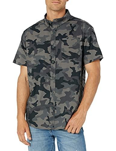 Columbia Men's Rapid Rivers Printed Short Sleeve Shirt, Black Camo, 3X Big
