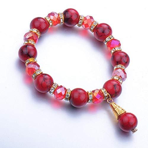 Pulseras Brazalete Joyería Mujer Moda Red Stone Bead Hombres Mujeres Estiramiento Brazalete Brazalete Redondo Minimalista Party Jewelry-Light_Yellow_Color