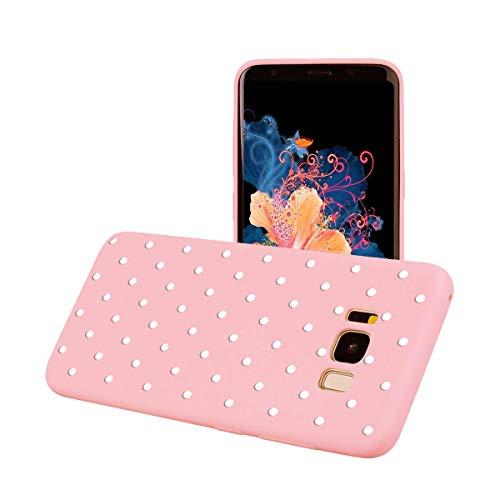 ZhuoFan Funda Samsung Galaxy S8, Cárcasa Silicona Rosa con Dibujos Diseño Suave Gel TPU Antigolpes de Protector Piel Case Cover Bumper Fundas para Movil Samsung GalaxyS8, Lunares Blanca