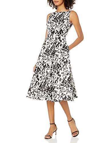 Adrianna Papell Women's Sleeveless Mikado Printed Party Dress, White/Black, 14
