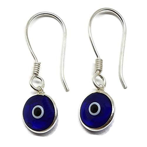 MYSTIC JEWELS By Dalia - Pendiente Plata de ley 925 Gota - ojo turco redondo para buene Suerte (Azul Fuerte Transparente)