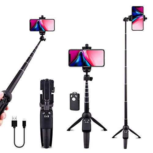 Selfie Stick Tripod Bluetooth, LATZZ 40 Inch Extendable Phone Tripod Monopod with...