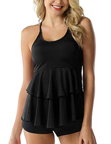 Septangle Women's Solid Ruffle Tankini Top Swimsuit with Coverage Swim Bottom,US 16, Black