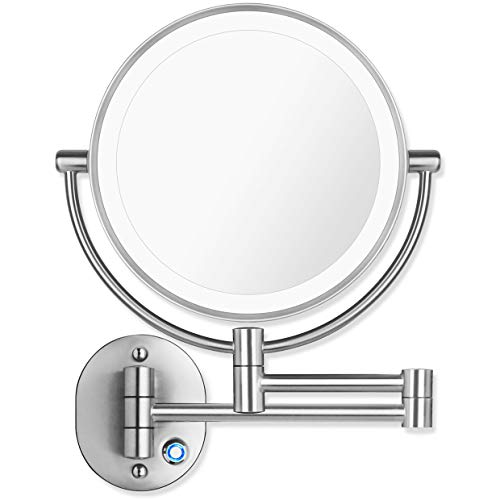 AmnoAmno 8.5' LED Double Sided Swivel Wall Mount Vanity mirror-10x Magnification,13.7' Extension,Touch Button Adjustable Light,Chromium,Shaving in Bedroom or Bathroom (8.5 Inch)