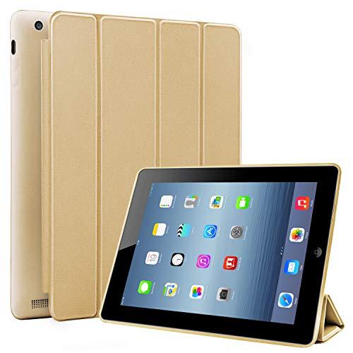 N NEWTOP Cover Compatibile per Apple iPad 2-3-4 da 9.7° Pollici, Custodia Flip Smart Libro Ori Case Ultra Sottile Leggera Stand Supporto Funzione Wake/Sleep Simil Pelle (Oro)