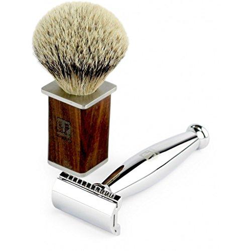 A.P. Donovan - rasoir de luxe en argent - la poignée est arrondie - y compris la brosse à raser Badger - Case cadeau - Set