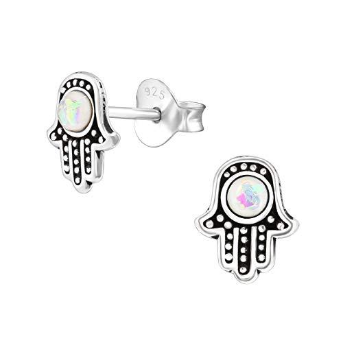 I love silver jewellery - White Opal Hamsa Hand Sterling Silver Stud Earrings 8MM