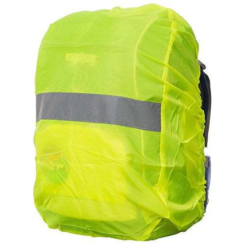 MOVOJA - Regenschutz für Rucksack - Wasser- und Windabweisend - XXL mit Reflektorstreifen - 50cm x 60cm - Volumen: 55L - Neon Gelb - Rucksackschutz Ranzen Rucksackcover Regenüberzug