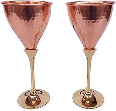Rastogi Handicrafts Pure Copper Wine Glass Goblet Tableware Bar Hotel Restaurant Serving Wine Whisky Cocktail Set of (2)
