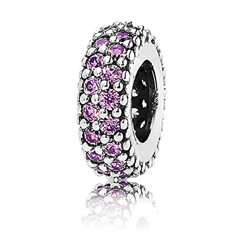 Women S925 Sterling Silver Beads Pink Zircon Pavé Inspiration Small String Jewelry Separated Bead Bracelet Charm Beaded Diy Accessories Purple