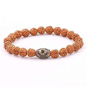 ZMMZYY Stone Bracelet, natürliche Same mit dem tibetischen Buddhismus Dzi Auge Perlen Armband für Männer Frauen Mala Heilung Glück, Schmuck, 21 cm