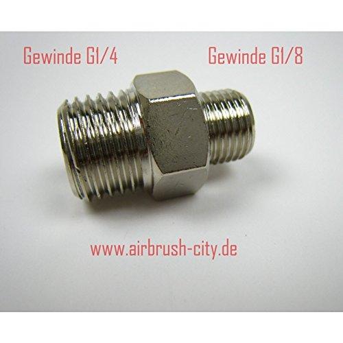 Preisvergleich Produktbild Airbrush-City Doppelnippel G1 / 4 Zoll außen auf G1 / 8 Zoll außen 41200602