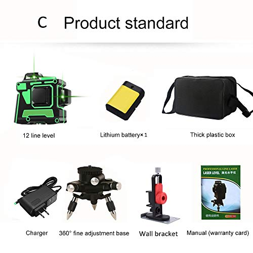 Niveles de láser verde 3D 12 líneas, Autonivelación 360 Cruz horizontal y vertical...