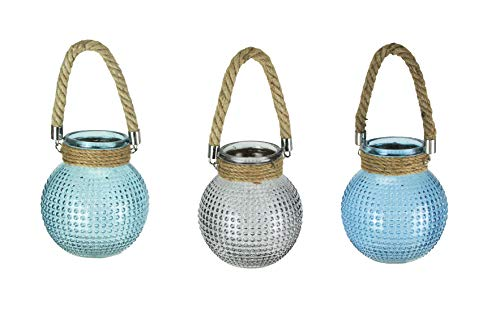 Zeckos Set of 3 Hobnail Beaded Glass 6.5 Inch Tall Tealight Candle Lanterns with Rope Handles Mid Century Modern Rustic Light Holders