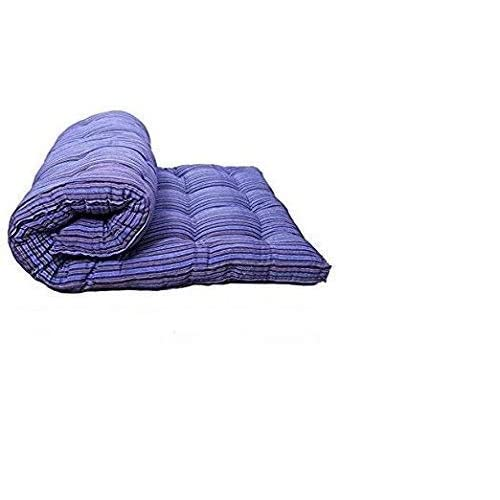 Ira With Word Dwell In Comfort Blue Medium Soft White Cotton Mattress - 1 Sleeping Capacity (72 X 36 X 4 Inch)