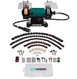 VONROC Amoladora de banco / Multiherramienta 150W - 75mm con eje flexible - Incluye 192 accesorios